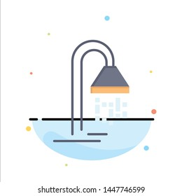 Bathroom, Hotel, Service, Shower Abstract Flat Color Icon Template
