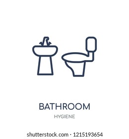 Bathroom icon. Bathroom linear symbol design from Hygiene collection. Simple outline element vector illustration on white background.