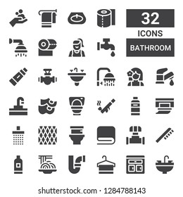 bathroom icon set. Collection of 32 filled bathroom icons included Sink, Furniture, Towel, Pipe, Padthai, Shampoo, Toothbrush, Toilet, Napkin, Shower, Wipes, Clogs, Faucet, Girl