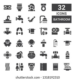 bathroom icon set. Collection of 32 filled bathroom icons included Padthai, Towel, Toilet paper, Toilet, Restrooms, Shampoo, Pipe, Water tap, Shower, Woman, Sink, Mirror, Furniture