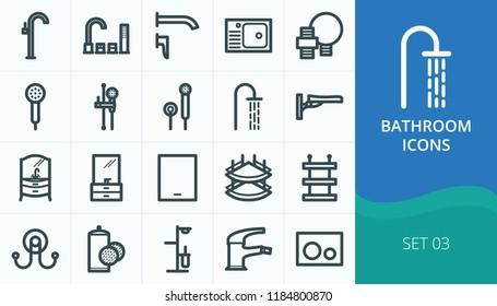 Bathroom icons set. Set of hand shower, bidet faucet, board mounted faucet, bathroom furniture