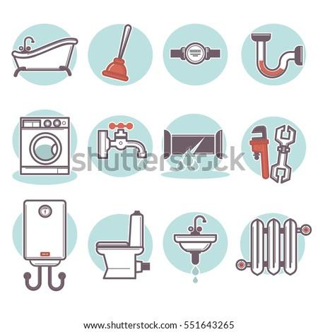 Vector Signs And Symbols Of Plumbing Equipment: Pipe Repair, Bathtub
