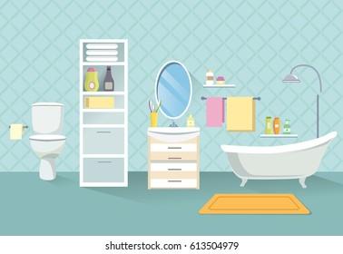 Bathroom interior. Bath room furniture set.