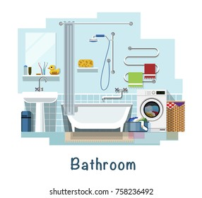Bathroom. Bathroom interior. Bath, washbasin, faucet, heated towel rail, mirror, curtain for the bath, sponge, washing machine, laundry basket, toothbrushe, towel, garbage tank. Flat style.