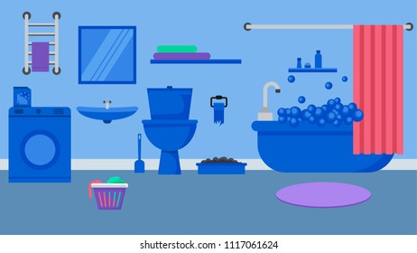 Bathroom interior in blue tones.