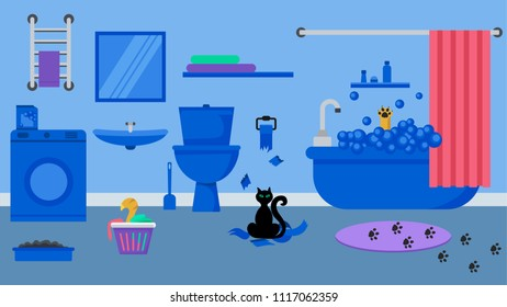 Bathroom interior in blue tones.The cat washes in the tub, the cat tore the toilet paper, the cat rummages in the basket.Spoiling cats