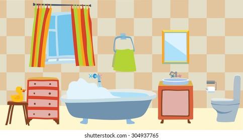Bathroom interior in a cartoon style. Editable Vector illustration.