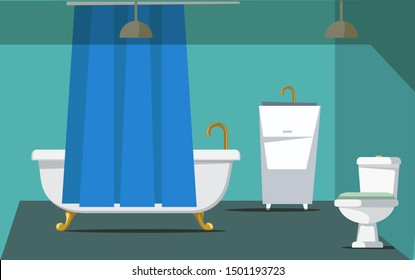 Bathroom interior decor flat vector illustration. Lavatory with no people. Empty modern apartment room. Residential house restroom furnishing. Ceramic bathtub with curtain, toilet and sink with faucet