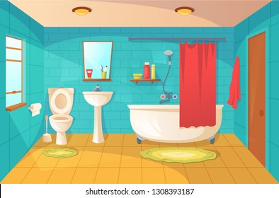 Bathroom interior design and room modern decor. Washbasin and a toilet in apartment. Vector flat style cartoon illustration