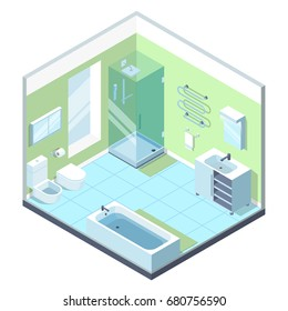 Bathroom interior with different furniture elements. Vector isometric illustrations