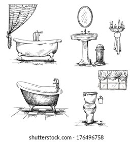 Bathroom interior elements. hand drawn. Bathtub, toilet bowl, sink. Vector
