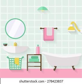 Bathroom interior. Flat design