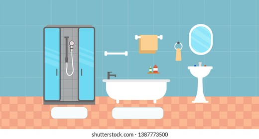 Bathroom interior with furniture in flat design style. Vector illustration.