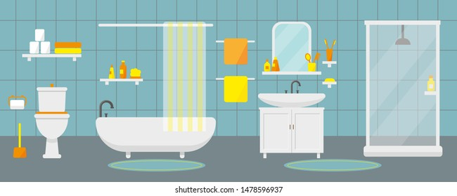 Bathroom interior with furniture and plumbing. Vector illustration.