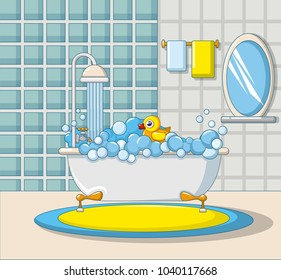 Bathroom interior icon. Cartoon illustration of bathroom interior vector icon for web