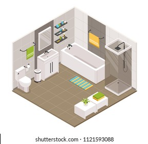 Bathroom interior isometric view with bath shower cabine cubicle toilet sink units towel holders accessories vector illustration