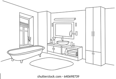 Bathroom Interior Line Sketches Images, Stock Photos ...