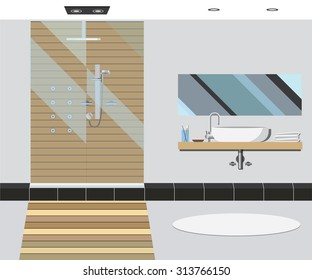 Bathroom interior with mirror and sink. Vector illustration