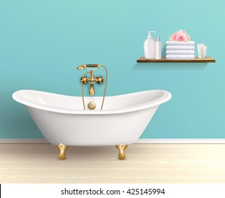 Bathroom interior poster or promo flyer bathtub in the house with blue walls shelf with bath accessories vector illustration