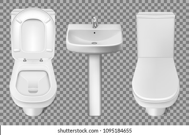 Bathroom interior toilet and washbasin realistic mockup. Closeup look at white toilet bowl and bathroom sink. 3d vector illustration isolated on transparent background