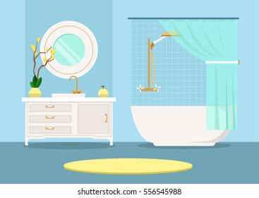 bathroom interior. Vector flat image