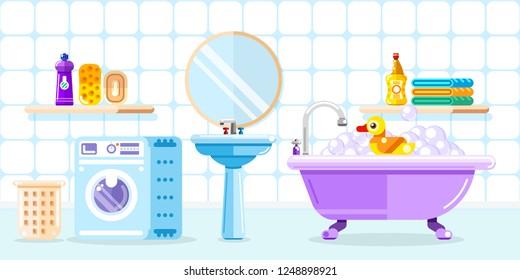 Bathroom interior, vector flat style illustration. Baby shower toys, furniture, washing machine and other bathtub design element.