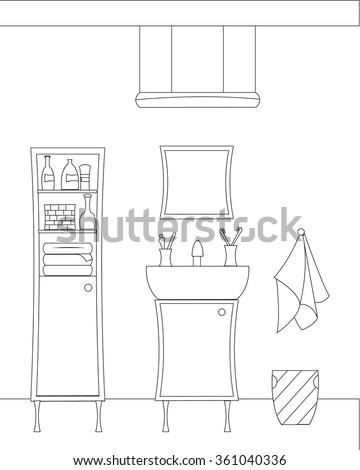 Bathroom Interior Vector Illustration Bathroom Bathroom Stock Vector