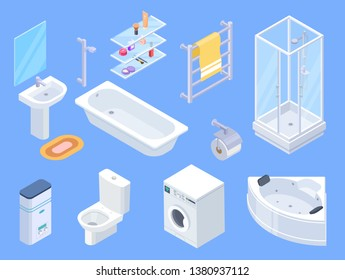 Bathroom isometric. Bathrooms interior isometrics elements, toilet water closet and towel dryer, washbasin and shower