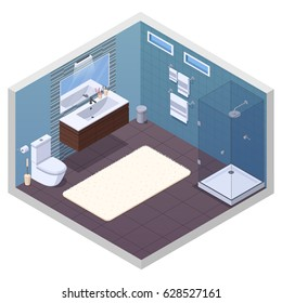 Bathroom isometric interior with glossy shower unit lavatory bowl vanity basin mirror and soft bath mat vector illustration