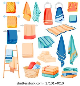 Bathroom and kitchen cotton towels collection. Vector flat cartoon illustration of bath and spa toiletries. Textile hygiene items, isolated on white background. Household clean fabric set