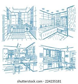 Bathroom and kitchen interior vector drawing set