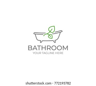 Bathroom and Leaf Logo Template. Bath Vector Design. Bathtub Illustration