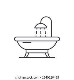 Bathroom line icon concept. Bathroom vector linear illustration, symbol, sign