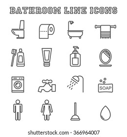 bathroom line icons, mono vector symbols