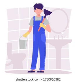 Bathroom. A male plumber in overalls is holding a bucket and a plunger. Vector illustration in the flat design style.