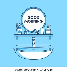 bathroom, mirror, sink, toothpaste, dental floss, toothbrush, duck, rinse