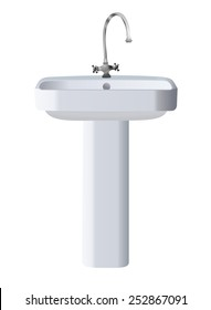 Bathroom object concept - ceramic washing sink standing on the floor with a modern chrome, stainless faucet. Realistic style graphic design, vector art image illustration, isolated on white background