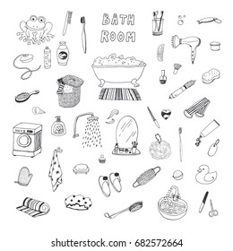bathroom objects hand drawn doodle vector illustrations set