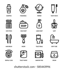 Bathroom personal hygiene equipment, body care accessories vector linear icons.