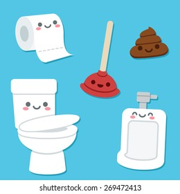 Bathroom related objects with cute cartoon faces. Toilet bowl and urinal, roll of toilet paper, plunger and a pile of poop.