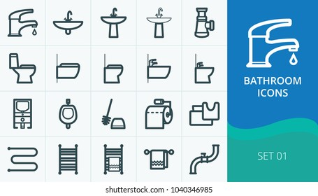 Bathroom and restroom icons, sanitary icons set. Set of faucet, toilets, bidets, washbasin, towel warmer.