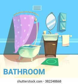 Bathroom retro design with bath mirror water and soap cartoon vector illustration