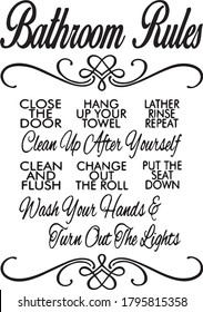 bathroom rules concept sign inspirational quotes and motivational typography art lettering composition design
