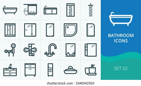 Bathroom and sanitary icons set. Set of bath, shower cabin, faucets, bathroom furniture icons.