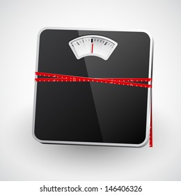A bathroom scale with a measuring tape. Vector illustration