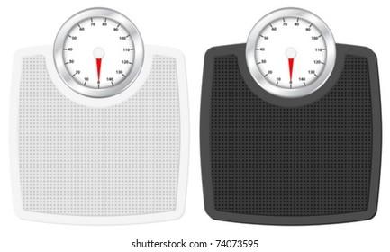 Bathroom scale set on white background. Vector illustration.