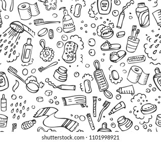 Bathroom set, washing, bathing, cleanliness seamless pattern. Hand drawn doodle background. Vector illustration. Monochrome Shower Bath texture.