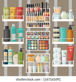 Bathroom shelves with skincare and hygiene bottles and containers, cosmetic. Tube with shampoo and toothbrush, shower gel and lotion, eyeshadow with brush. Shop or store showcase