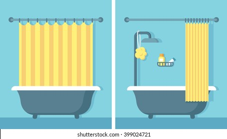 Merveilleux Bathroom Shower Interior In Flat Cartoon Vector Style With Open And Closed Shower  Curtain.