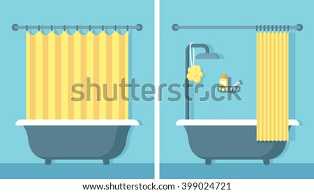 Bathroom Shower Interior In Flat Cartoon Vector Style With Open And Closed Curtain